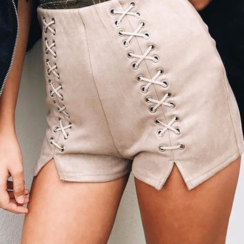 Eyelet Criss-Cross Suede Shorts
