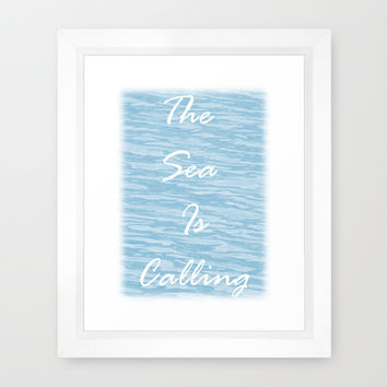 The Sea Is Calling - Sea Blue Framed Art Print by Moonshine Paradise | Society6