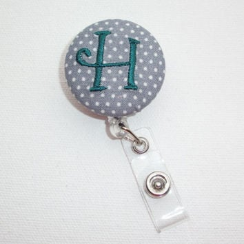 Retractable ID Badge Holder Reel  - Fabric Button - gray mini pin polka dots with monogram initial custom
