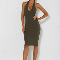 Cyra Halterneck Dress - Khaki