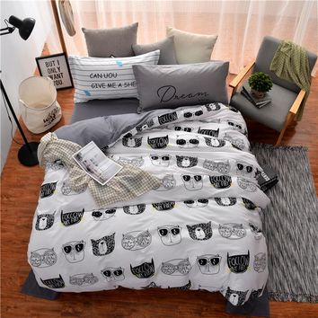100%cotton white black kids Owl Cat boy/girl 3/4pcs bedding set bed linen duvet cover bed sheet pillowcase twin full queen size