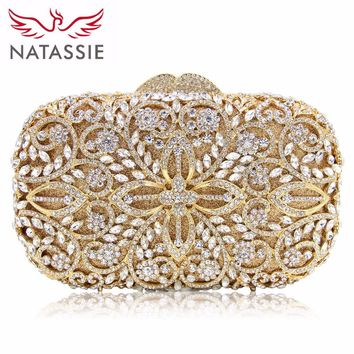 NATASSIE Women Evening Bags Ladies Party Clutch Bag Female Gold Crystal Wedding Purses