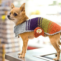 Dog Coat, Dog sweater, Ηand knit dog sweater, handmade dog sweater, Dog clothing, Multi colored dog sweate