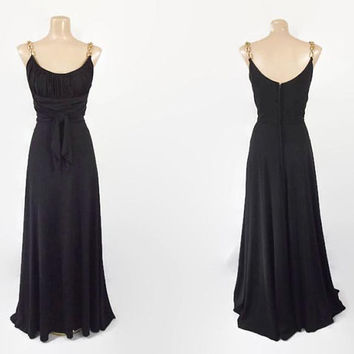 Vintage 70s Chain Strap Maxi Dress | 1970s Black Maxi Dress | Grecian Style Gown |  Sexy Jersey Dress | Studio 54 Dress | Cocktail Dress | S