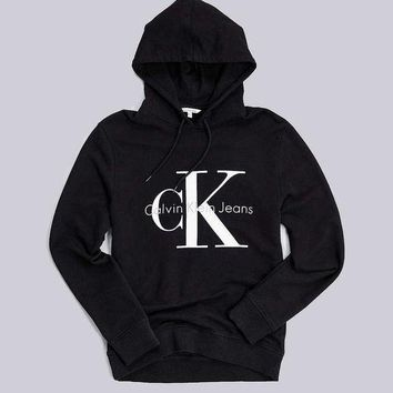 Calvin Klein Popular Women Men Leisure Cotton Print Hoodie Top Sweater Sweatshirt Black I