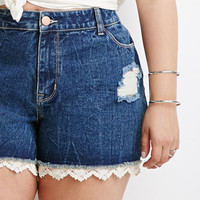 Crochet-Trimmed Denim Cutoffs