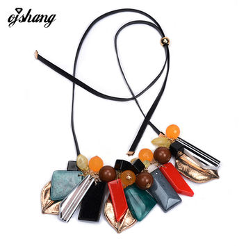 Fashion Women 2016 ZA Necklaces Pendants Collier Femme Leaf Collar Choker Beads Costume Maxi Ethnic Boho Jewelry Bohemian