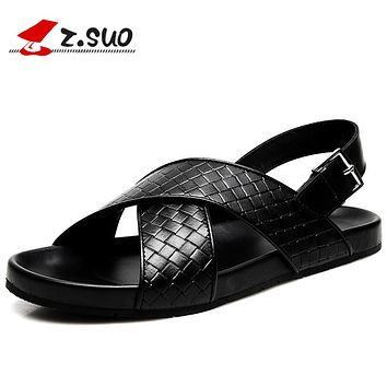Genuine Leather Men Sandals Summer Fashion Leisure Beach Shoes Black Simple Hand Sewing Flat Slippers Slides