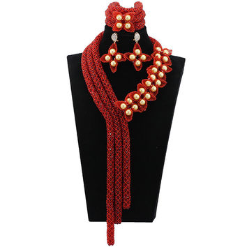 Gold Seed Bead Flower Handmade Crystal Necklace Burgundy Floral Nigerian Wedding African Beads Jewelry Set ABL532