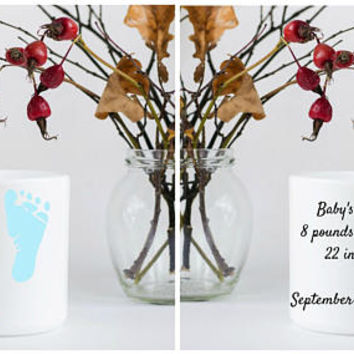 Birth Announcement - Customizable Coffee Mug - Mother's Day Present - Father's Day Present - Gift for New Grandparents - Birth of a New Baby