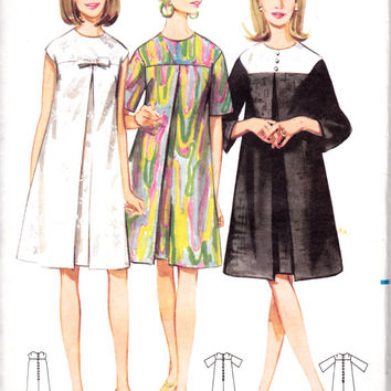 """1960s Misses Mod Dress A-Line Butterick 4386 Womens Vintage Sewing Pattern Bust 32"""""""