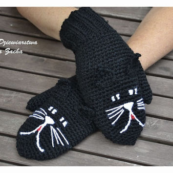 Black Cat Mittens, Crochet Mittens, Cat gloves , animal Mittens , Mittens made to order