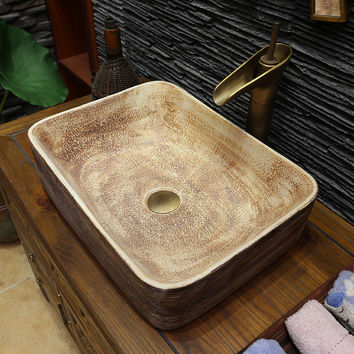 Rectangular Europe Vintage Style Ceramic Art Basin Sinks Counter Top  Bathroom Sinks Sanitary Ceramic Wash Basin