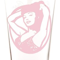 SOURPUSS BETTIE PAGE PORTRAIT PINT GLASS PINK - Housewares