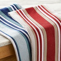 WIDE STRIPE BASKETWEAVE KITCHEN TOWEL, SET OF 2