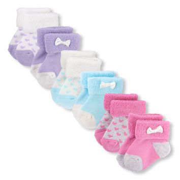 Baby Girls Heart Print Roll-Cuff Socks 6-Pack