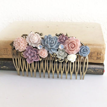 Wedding Hair Accessories Comb Blush Pink Peach Plum Mauve Gray Soft Pastel Colors Dreamy Romantic Bridal Hair Piece Cheap Bridesmaid Gift PM