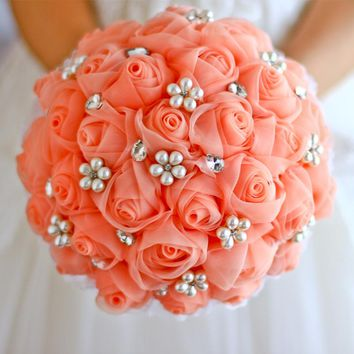 Bride holding flowers, brooch bouquet, bridesmaids bouquets, roses, hand-made high-end, color can be customized