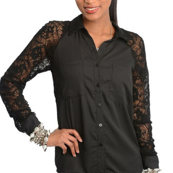 Lace Sleeve Button Down Shirt