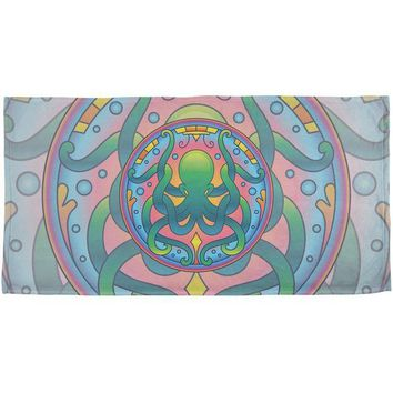 DCCKJY1 Mandala Trippy Stained Glass Octopus All Over Beach Towel