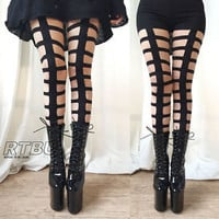 RTBU Gothic Punk Rock Bondage Strappy Laser Cut Cage Legging Show Dance Club