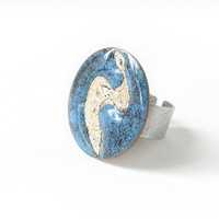 Enamel statement cocktail ring blue silver aqua adjustable fashion artisan OOAK by Alery