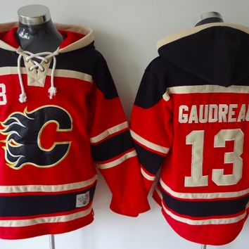 KUYOU Calgary Flames Lacer - #13 Johnny Gaudreau Red Old Time Hockey