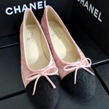 CHANEL Bow Women Fashion Loafer Flats Shoes
