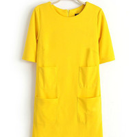 Short Sleeve Four Pocket A-line Knit Mini Dress