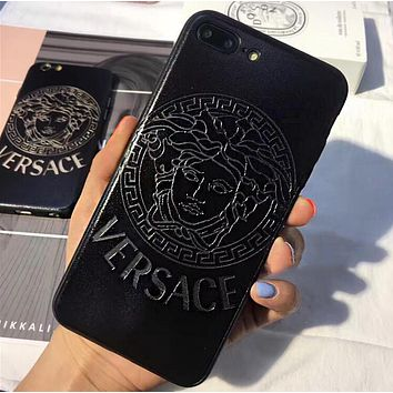 Versace Stylish Creative Chic Hollow iPhone Phone Cover Case For iphone 6 6s 6plus 6s-plus 7 7plus iPhone 8 8 Plus iPhone X Black I13567-1