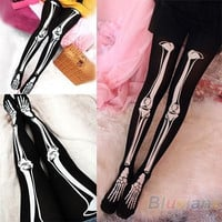 Womens Sexy Black Skeleton Tattoo Socks Pantyhose Stockings Tights Leggings Hot = 1932346308