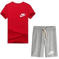 Trendsetter Nike Women Men Casual Sport T-Shirt Top Tee Shorts Set Two-Piece
