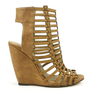 Mark and Maddux Rashida-03 Gladiator Wedge Sandals in Tan @ ippolitan.com