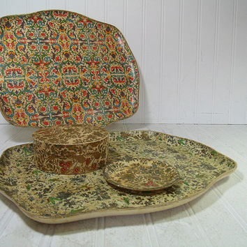 BoHo Hippie Colorful Floral Paper Mache Floral Vanity Trays Set of 5 Pieces - Vintage Multicolors Shabby Chic Bistro Display Platters & Box