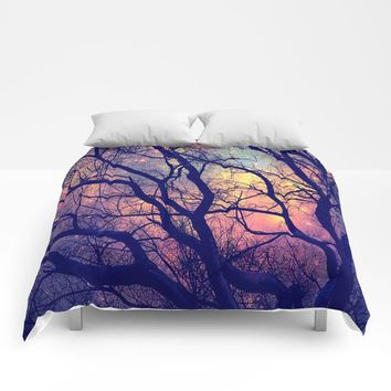 Black Trees Deep Pastels Space Comforters by 2sweet4words Designs