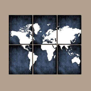 WORLD MAP Wall Art, CANVAS or Prints Bedroom Wall Decor, Grunge Effect, Navy Colors, Desk Office Decor, Library Room, Set of 6, Home Decor