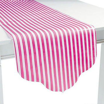 Paper Table Runner  - Candy Pink Stripes/Polka Dots