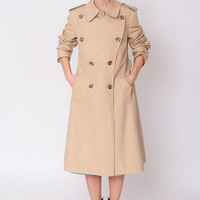 1980's Beige Trench Coat - Vintage 80's A Lined Formal Classic Preppy Brown Epaulettes Military Cotton Midi Lenght Coat Size M L
