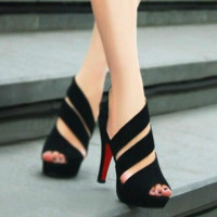 Black Open Toe High Heels