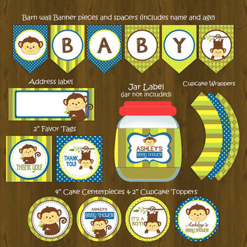 Monkey Printable Baby Shower Package - Baby Boy Monkey Baby Shower DIY Set - invitation, banner, cupcake toppers, placemat, games