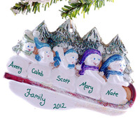 Personalized Christmas ornament family of 5 personalized snowmen sledding winter fun holiday ornament
