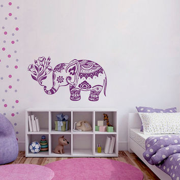Wall Decals Vinyl Sticker Elephant Flowers Indian Animals Mandala Ganesh Girl Boy Bedroom Kids Nursery Children Baby Room Home Decor ML93