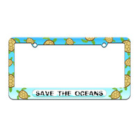 Save the Oceans - Environmental Global Warming - License Plate Tag Frame - Sea Turtle Design