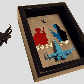 Gift For Boyfriend, Star Wars Girlfriend Valentines Gift. Han Solo And Princess Leia Art Print, 5X7 Shadowbox and A Star Wars X Wing Figure.