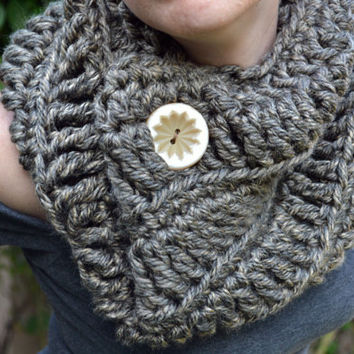 The Northerner crochet infinity scarf, winter cowl, crochet button cowl in brown