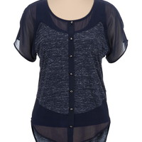 High-Low Pieced Chiffon Dolman Top