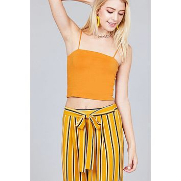 Ladies fashion straight neck crop double layer cami top