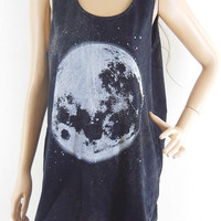 Moon Shirt Moon Tank Top Unisex Tshirt Women Tshirt Men Tshirt Bleached Black Shirt Top Tunic Sleeveless Size M