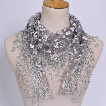 Scarf For Women Flower Lace Silk Triangle Female Baby Girls Tassel Shawls and Scarves Autumn 18 Colors Photo Accessories