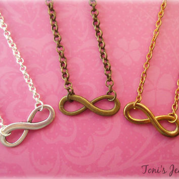 Infinity Necklace - Silver Plated, Gold Plated or Antique Bronze Tone, Simple Everyday Style